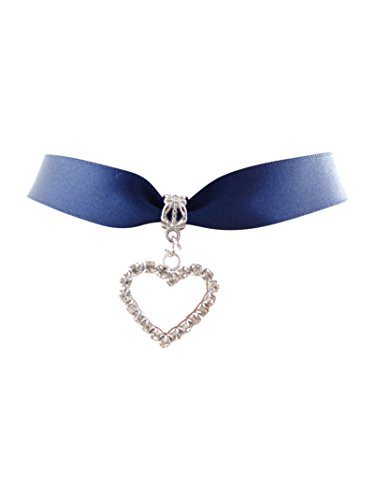 dunns-jewels Navy Blue Satin 16mm Wide Choker with a Rhine-Stone Heart