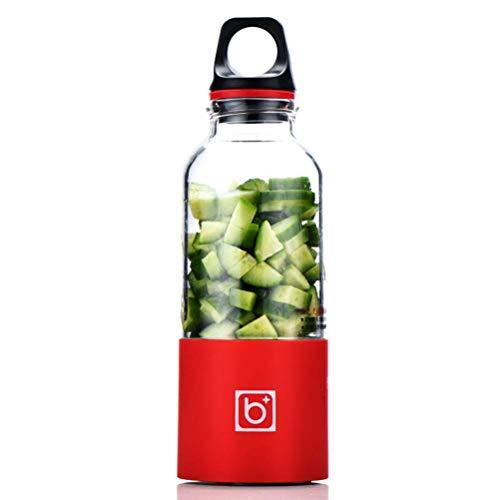 Portable Juicer Cup 500Ml Pequeña Licuadora Extractor de Jugo de Frutas Mezclador Fruit Maker Cup Usb Recargable con 2 Cuchillas, Ibuprofen, rojo