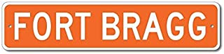 "Fort Bragg, California U.S.A. Custom America Aluminum Metal Street Sign - Orange - 4""x18"""
