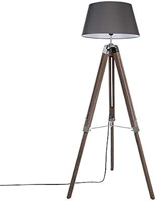 Lampadaire Salon Gris Trépied en pin 145cm