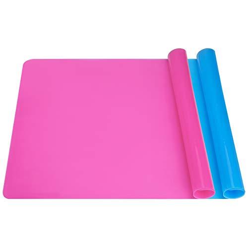 QH-Shop Tapetes de Silicona Múltiples, 2 Piezas Grande Antiadherente Mantel Individual para Manualidades, Fundición de Joyas, Fabricación de Vasos de Brillo Epoxi