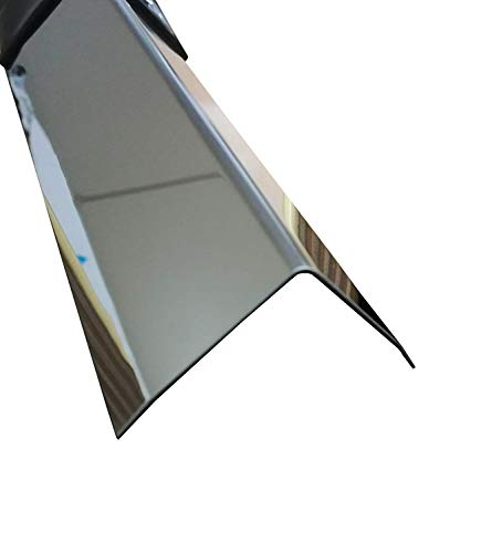 Kantenschutz Wand, 1 Meter Edelstahl Winkel, 3-fach gekantet, Winkelprofil Edelstahl, hochglanz poliert,0,8mm stark, 3fach Winkelblech, Kantenschutzprofil