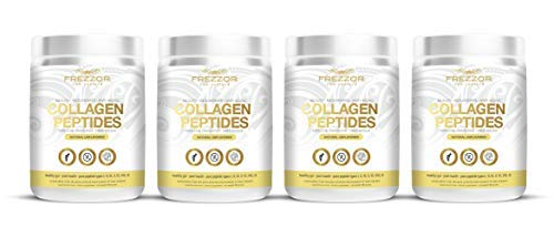 FREZZOR PURE COLLAGEN PEPTIDES Powder Supplement 4-Pack, 100% Grass-Fed New Zealand Cattle Source, Joint Skin Hair & Nail Support, Unflavored, Amino Acids, Anti-Aging, Beauty, Digestion, Pain Solution