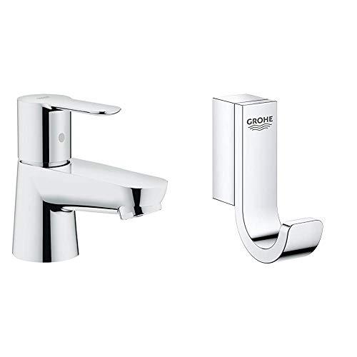 Grohe BauCosmopolitan - Grifo de lavabo pilar cuerpo liso, tamaño XS (Ref.20421000) + Grohe Selection - Colgador, cromo (41039000)