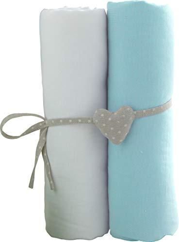 Babycalin Lot de 2 Draps Housse Blanc/Turquoise 70 x 140 cm