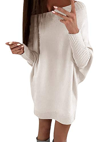 Lueyifs Damen Strickkleid Casual Langarm Pullover Frauen Elegant Kleid Outwear Minikleid