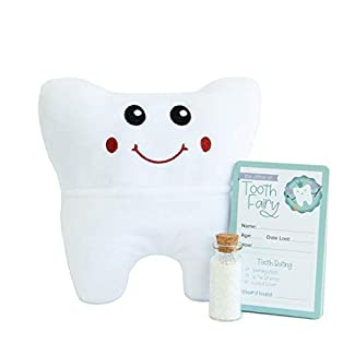 Tooth fairy kit that includes a keepsake tooth pillow, receipt and glitter