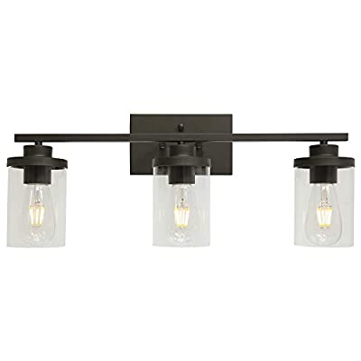 QueeuQ Bathroom Vanity Lighting Farmhouse 3-Light with Clear Glass Shade Oil Rubbed Bronze Finished Industrial Bathroom Sconces Lighting Over Mirror Wall Mount Light Fixture for Living Room Kitchen