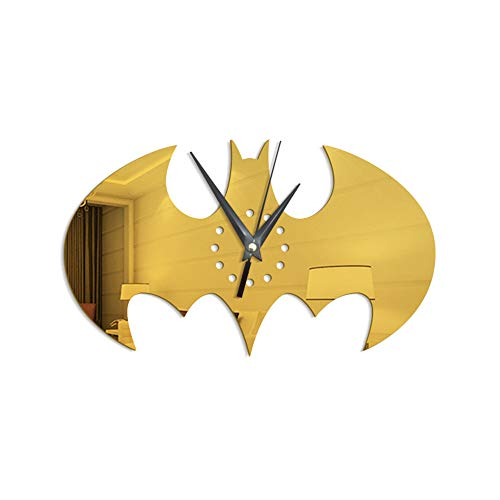 Ruanruan - Reloj de pared para decoración de pared, diseño de Batman, dorado