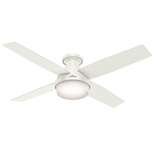 HUNTER 59242 Dempsey Indoor Low Profile Ceiling Fan with LED Light and Remote Control, 52', White