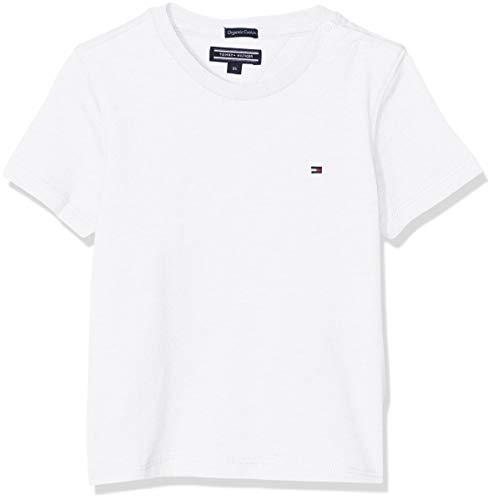 Tommy Hilfiger T Camiseta Básica de Manga Corta, Blanco (Bright White), 164 (Talla del Fabricante: 14-15) para Niños