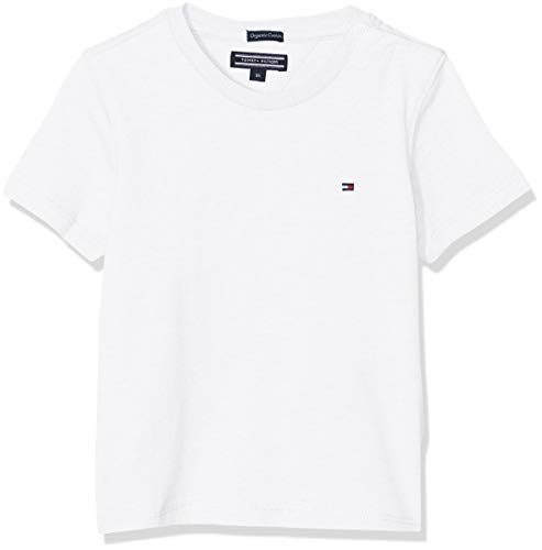 Tommy Hilfiger Jungen Boys Basic Cn Knit S/S T-Shirt, Weiß (Bright White 123), 74