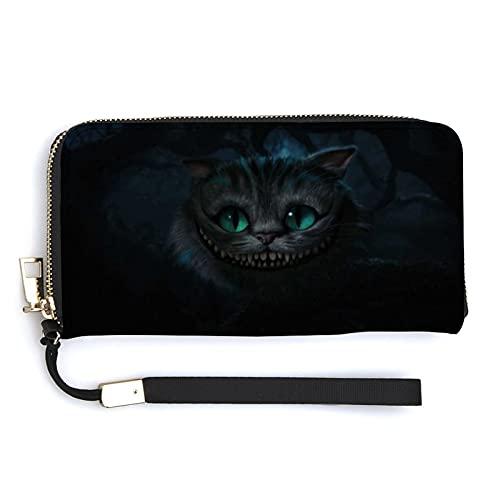 Cheshire Cat Alicia en el país de las maravillas cartera larga de gran capacidad, con cremallera multicompartimiento unisex a la moda exquisita cartera versátil tendencia