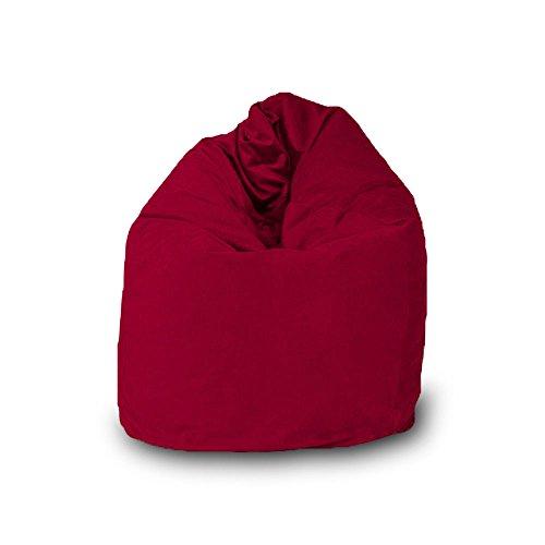 Pouf Bean Bag en forme de goutte déhoussable en velours L 70 x 110 cm rouge