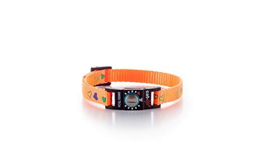 cat-life Katzen Sicherheitshalsband Sicherheitsverschluss individuell einstellbar (Hearts orange, unter 4 kg Verschluss blau)