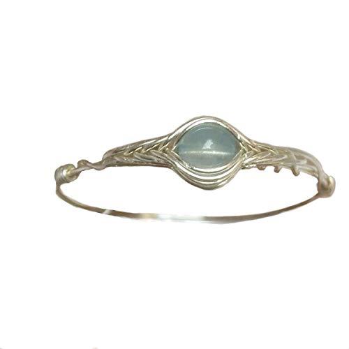 19 (9-26 1/2 opzione) Pietra naturale di acquamarina Corda d'argento 925 Sterling in giro pietra preziosa Anello fatto a mano
