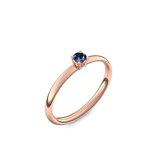 Rotgold Ring Saphir 750 + inkl. Luxusetui + Saphir Ring Rotgold Saphirring Rotgold (Rotgold 750) - Concinnity Amoonic Schmuck Größe 54 (17.2) AM161 RG750SAFA54