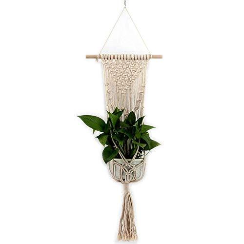QASIN Hand-Woven Mesh Hanger, Flower Pot, Lace Rope, Plant Hanger, Garden Flower Pot Holder, Hanging Basket for Potted Utensils Decoration -, Beige