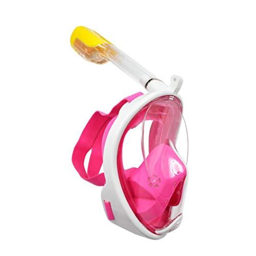 Máscara de mergulho com snorkel Full Face BESPORTBLE, máscara de mergulho panorâmica de 180° com suporte para câmera, máscara de mergulho de silicone, equipamento de natação, antivazamento e antiembaçamento, sistema Dry Top, rosa, 2