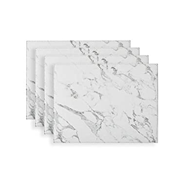 Placemats set of 4 Firm Faux Leather PU, 16 x12  Heat & Stain Resistant Easy to Clean (Marble)