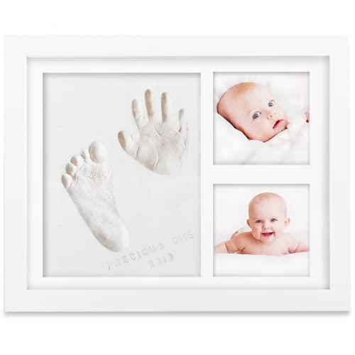 Baby Handabdruck Fußabdruck Andenken Kit - Baby Drucke Fotorahmen für Neugeborene - Baby Kinderzimmer Erinnerung Kunst Kit Rahmen - Baby-Dusche Bilderrahmen für Baby-Registrierung (alpinweiß)