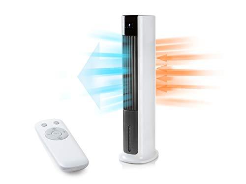 Mobiles Klimastandgerät Aircooler oszillierend - Luftkühler, Turmventilator und Luftbefeuchter mit 10Std. Timer, Fernbedienung, 4 Geschwindigkeiten, waschbares Filtersystem
