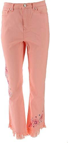 DG2 Diane Gilman Embellished Fringe-Hem Cropped Jean Blush 8 Tall New 687-739