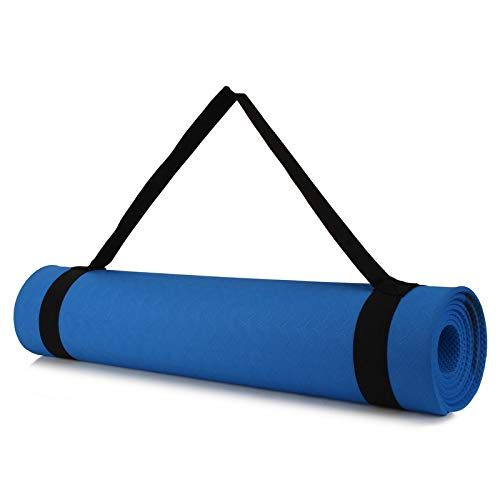 Yoga Mat Anti Skid Yogamat for Gym Workout and Flooring Exercise - Long Size Yoga Mate for Men Women (Blue-6MM)