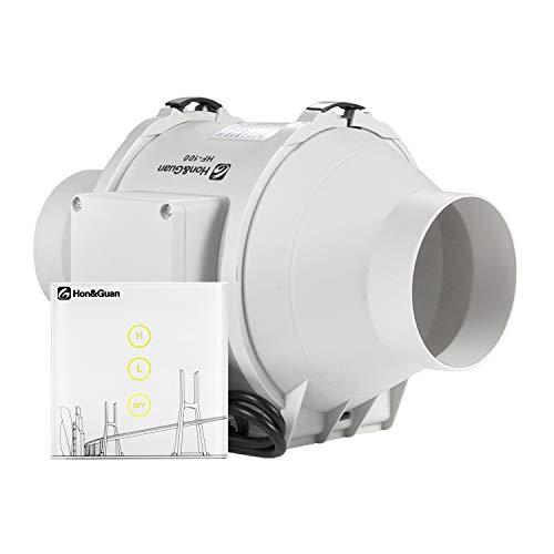 Hon&Guan Extractor de Aire en Línea com Flujo Mixto 100 mm - Ventilador de Baño Silencioso con Controlador Inalámbrico (ø100mm Extractor de Aire)