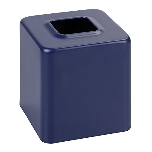 Price comparison product image iDesign Facial Tissue Box Cover / Holder for Bathroom Vanity Countertops,  Matte Navy