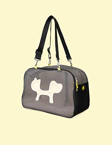 United Pets Mesh Bag Trasportino Morbido per Cani e Gatti, di Design, Borsa/Zaino da Trasporto, Nero/Giallo