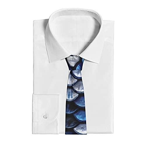 Corbata para hombre, para bodas, fiestas, negocios, uso diario o casual, corbatas para hombres, regalo para Halloween, Navidad, básculas de pescado azul cobalto metálico
