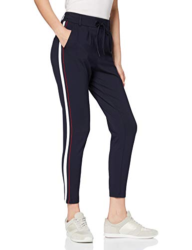 ONLY Damen onlPOPTRASH Easy Duo Mix Panel Pant NOOS Hose, Blau (Night Sky Detail:W. Cloud Dancer/High Risk Red), W29/L32(Herstellergröße: M)