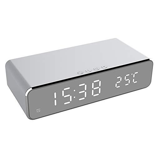 Bayue LED elektrische wekker met telefoongeheugen, draadloze oplader, bureau-thermometer, digitale klok HD spiegelklok met tijdweergave