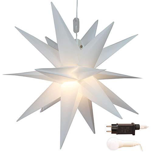 Stern Weihnachten weiß beleuchtet Ø 45 cm mit 18 Zacken zum Aufhängen außen