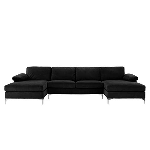 BHDesign Amanda XL - Sofá esquinero PANORAMIQUE Xtra de 7 plazas - Moderno - Terciopelo - Color Negro