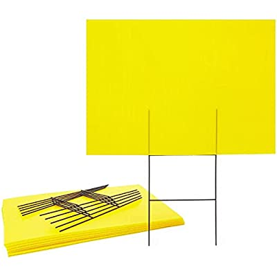 Okuna Outpost Corrugated Plastic Blank Yard Signs with H Stakes (Neon Yellow, 17 x 12 in, 6 Pack)
