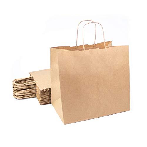 Juego de 25 bolsas de papel marrón Kraft con asas 26x17x24c