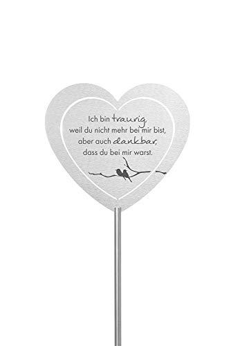 Fritz Cox® - Grabstecker: Edelstahl Herz 'Ich bin traurig'; Grabschmuck, in Liebe für einen geliebte Menschen; eine wetterfeste Erinnerung aus Edelstahl - ideal auch für ein Urnen-Grab