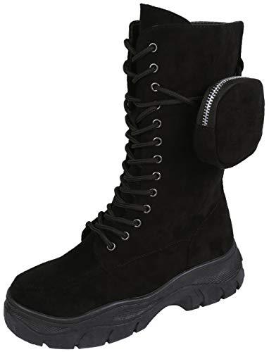 Czarne wysokie botki z zamszu z torbą Vices, czarny - czarny - 39 eu