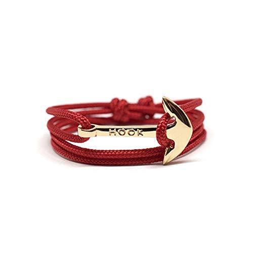 HOOK Pulsera Ancla Cadaqués Cordón Náutico Rojo Cierre Ancla de Acero Inoxidable para Hombre y Mujer - 1081 (Rosado)