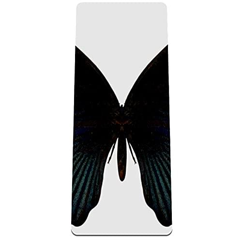 PLOKIJ Esterilla de yoga TPE, tapete de ejercicio de 1/4 pulgadas de grosor, antideslizante con correa de transporte para yoga, gimnasio y ejercicios de piso, mariposa negra, 80 x 183 x 0,8 cm