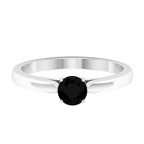 Anillo solitario de diamante negro de 3/4 CT creado en laboratorio, 14K Oro blanco, Size:EU 49