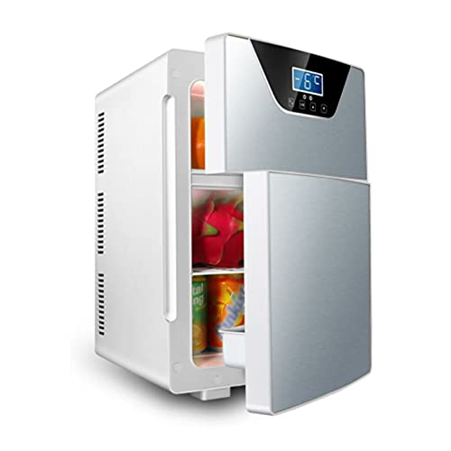 LK-HOME Mini Fridge, 20L Tri-Core Chip Cooling And Heating Refrigerator, Silent And Portable, Suitable for Bedroom And Car,Silver