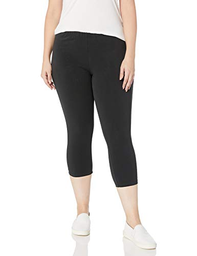 Just My Size Women's Plus-Size Stretch Jersey Capri, Black, 2X