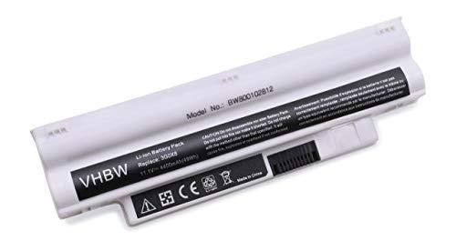 Batterie LI-ION 4400mAh 11.1V, Blanc, pour Dell Inspiron Mini iM1012-Serie, 1012-Serie, 1018-Serie remplace T96F2, CMP3D, 3K4T8, NJ644 etc.