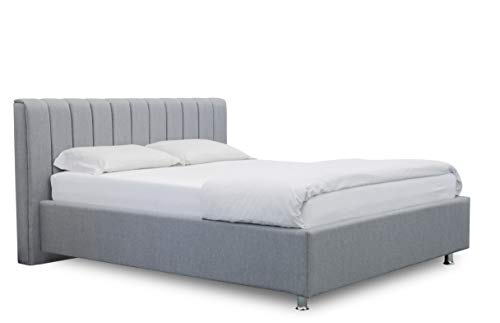 ES Design 08 gestoffeerd bed Antony met 5 jaar garantie, een hoogwaardig bed, lattenbodem en opbergruimte (lichtgrijs, 140 x 200 cm)