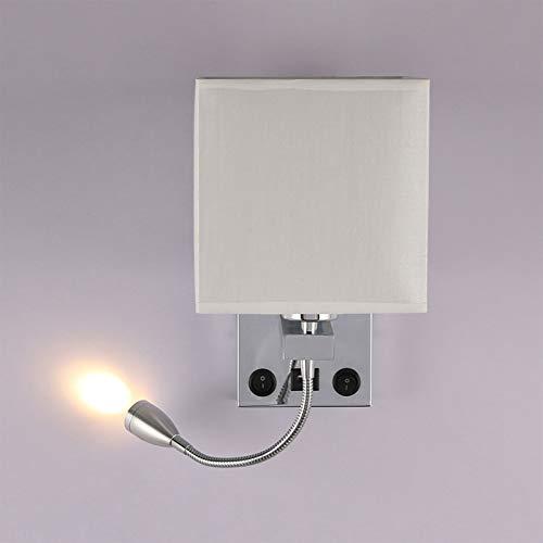 ALLOMN Luz de la Mesilla de Noche, Lámpara de Pared de Lectura LED Lámpara de Pared Moderna con Foco de Cuello de Cisne Ajustable, Interruptores Dobles, Con Puerto USB para Cargar E27 (Con USB, 2 PCS)