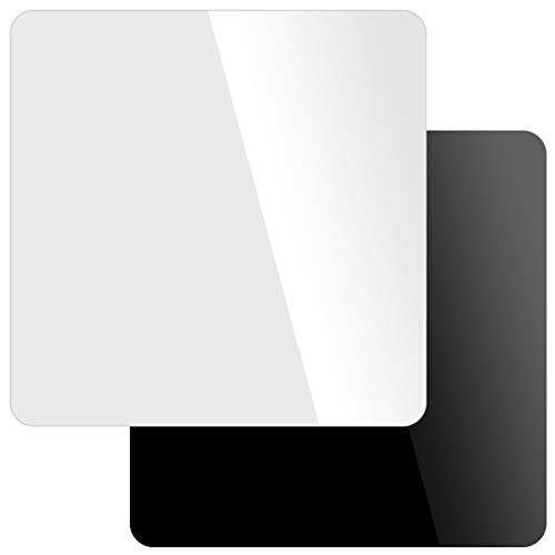 FAATCOI 2pcs 12 x 12 Inch, Reflective Display Board for Photography, Black and White Acrylic Sheets Background Boards for Product Photo Shooting Table Top