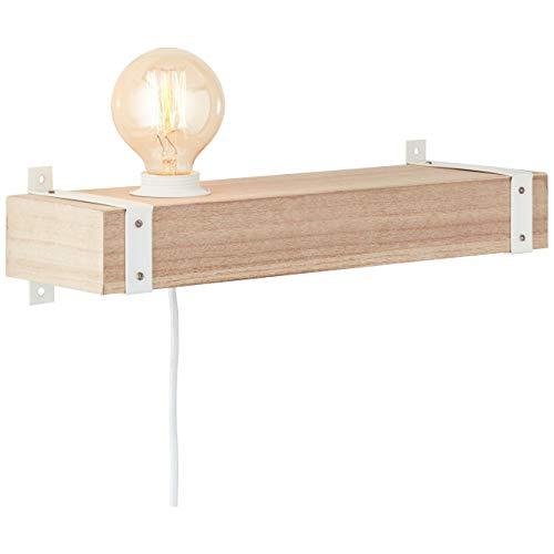 BRILLIANT lamp wit houten wandspot aanvoer en schakelaar beton/hout helder wit |1x A60, E27, 30W, geschikt voor normale lampen (niet inbegrepen) |Schaal A ++ tot E |Met snoerschakelaar